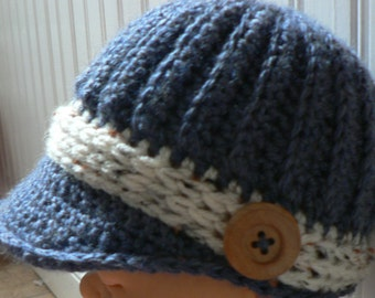 Infant Boy Ribbed Crochet Newsboy--Denim blue with white flecked band and wood buttons