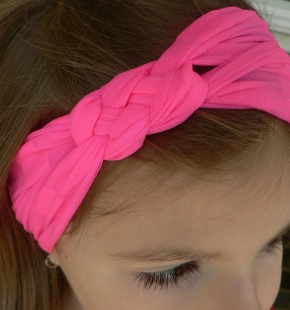 Stretch Nylon Knotted Headband Buff Hot Pink With Polka Dots