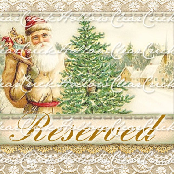 RESERVED FOR BETTY Only - Custom Etsy Shop Digital Art for your store. Premade vintage style Winter Town set pattern.  Holidays.