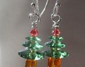 Erinite Swarovski Christmas Tree Earrings