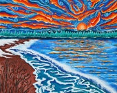 Michigan Sunset , 2008, gouache on canvas (greeting card)