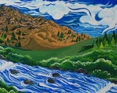 El Portal, California, Gouache on canvas, 2007, Giclee print