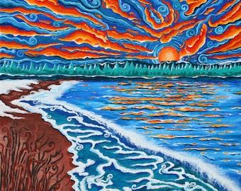 Michigan Sunset , 2008, gouache on canvas, Giclee print