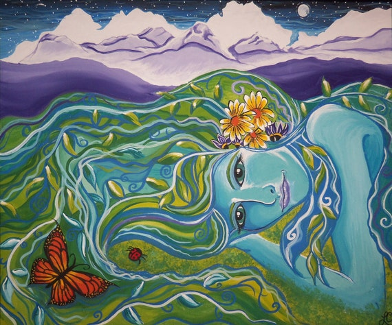 Goddess of the Mountains, 2005, Gouache on canvas (Greeting card)