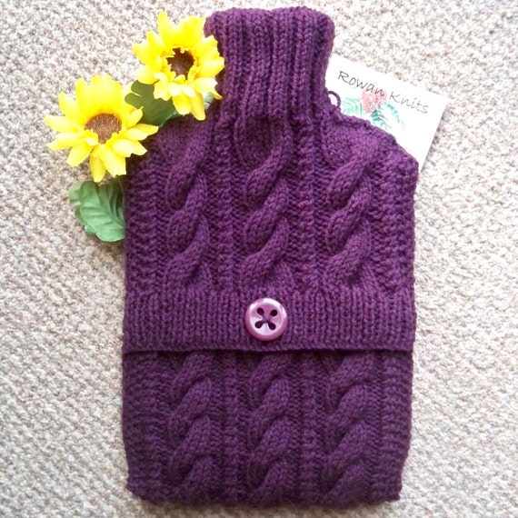 Hand knitted  Aubergine Eggplant hot water bottle cover