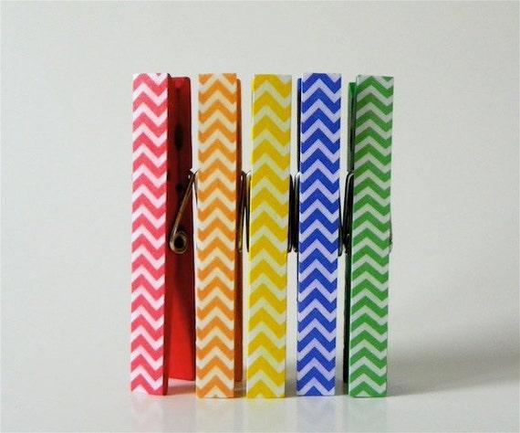 Rainbow Chevron Clothespin Magnets. Magnet Clothespins. Classroom Decor. Teacher gifts. Fridge Magnets. Wedding Favors. Magnet Clips.