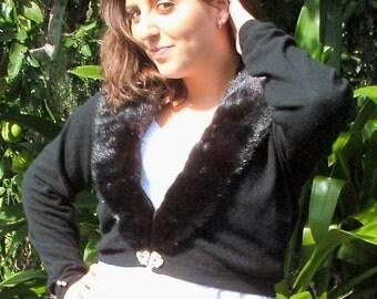Cashmere Sweater  Black Vintage 1950s Fur Trimmed