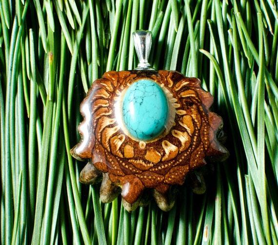 TURQUOISE INLAY (Small) Third Eye Pinecone Talisman Necklace - Sterling Silver Bail