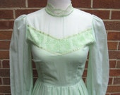Reserved for zXwolfgirlXz - Vintage 70s Green Prairie Victorian Style Dress / XSmall to Small