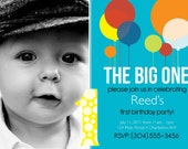 1st BIRTHDAY big one, solid, boys invitaition - DIGITAL file -