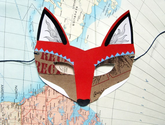 Fox Mask, Paper Animal Mask, Woodland Forest Party or Wedding Favor
