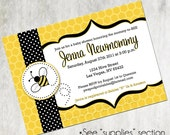 Printable Personalized Bumble Bee Baby Shower Invitation Invite Black and Yellow Honey Comb