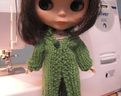 Green knitted coat for blythe