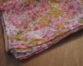 RESERVED Vintage 1960's sheer pink floral curtains/fabric 2 yards plus