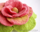 Luxuriouse Flower in pink and green tones, Felted Flower Brooch, Hand felted jewelry
