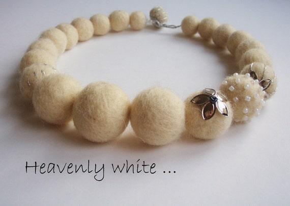 "Felt Necklace - Wool Jewelry -  ""Heavenly White"""