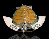 Sterling Silver & Onyx Sea Turtle Belt Buckle