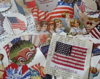 4th of July Scrapbooking Supplies, Patriotic Party Decor, Patriotic Destash Lot