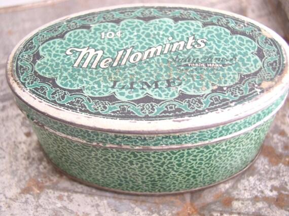 Vintage Tin Mellomints Lime Brandle Smith Co.