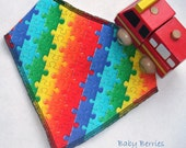 Baby dribble bib - bandana, rainbow jigsaw