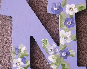 Hand Painted Kids Name sign (9 letters)- Purple and girly