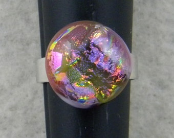 Handmade Pink / Yellow Dichroic Fused Glass - Adjustable Ring