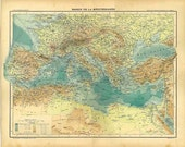 Antique Map Mediterranean Basin 1889