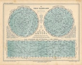 1929 Large Vintage Stars Map,  Celestial Globe Map,  Constellations Planets Zodiac