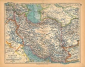 1928 Vintage Map Persia Iran Home Decor Wall Hanging to Frame