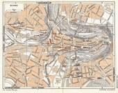 Vintage City Map Bern 1953 Switzerland  Street Map to Frame