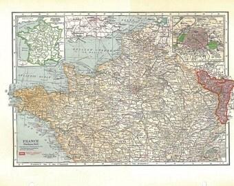 Large Vintage Map of Northern France 1930s