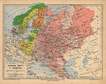 1929  Vintage Map of Europe, Northern and Eastern Europe,  Historical Map