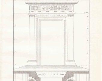 1920s Vintage Architectural Print Vignola,  Black and White