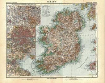 Vintage Map of Ireland 1911 Stielers  Retro Home Decor