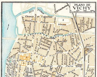 Vichy France Vintage City Map 1920s Street Plan