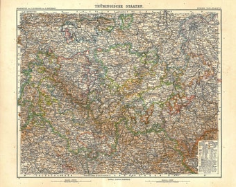 1912 Antique Map Thuringia, Germany Stielers Atlas