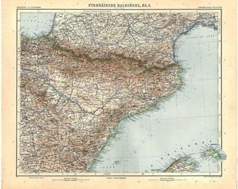 1912 Spain Antique Map  (North East) Balearic Islands Stieler