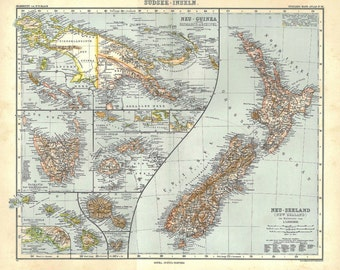 1914 South Pacific Islands Vintage Map New Zealand, Polynesia