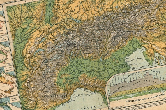 1909 The Alps Antique Colorful Map to Frame