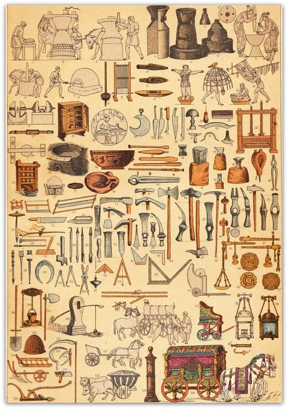 Ancient rome antiquechromolithograph machines utensils tools - Cuisine de la rome antique ...