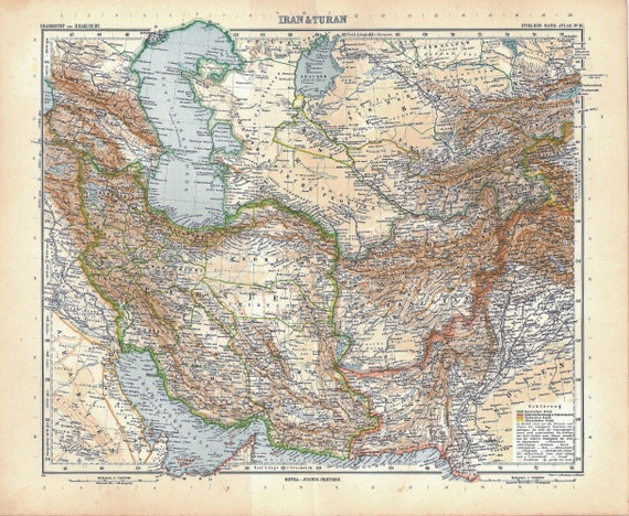 Map Central Asia Iran and Turan 1911 Vintage, Stieler Home Decor Wall Hanging