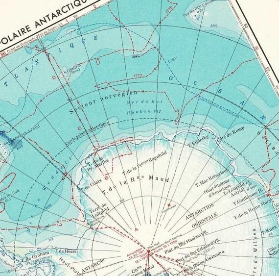 1950s Antarctica  Vintage  Map