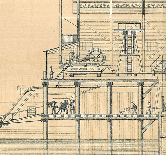 1872 French Engineering Drawing Section of a Bridge