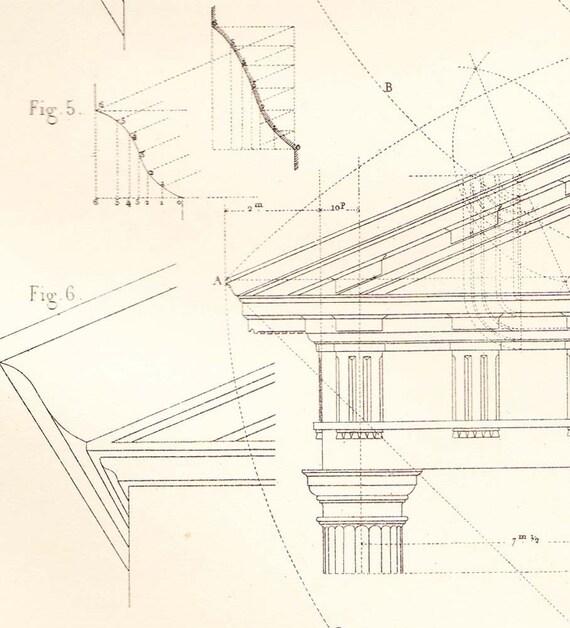 Facades Doric Order Architecture Drawing , Vignola, Steel Engraving