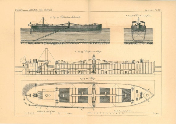 1872 French Technical Drawing, Ship, Saint Nazaire, France
