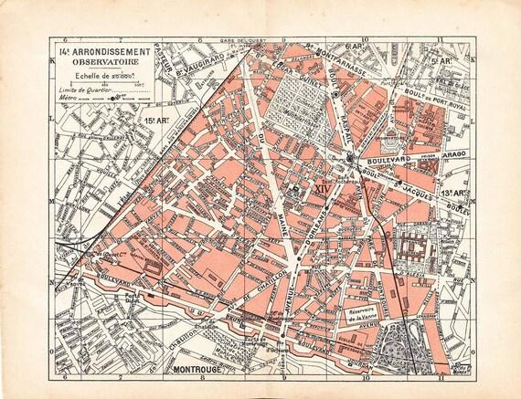1920s  Paris Street Map Observatoire 14e arrondissement