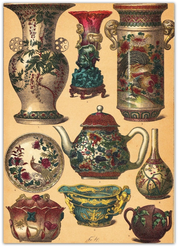 Chinese Ceramics Vases and Teapots Chromolithograph Pottery Middle and Modern Ages 1894