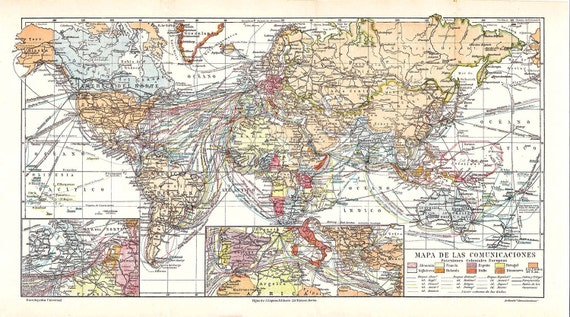 Antique World Map  Communications 1920s Maritime Trade Routes,