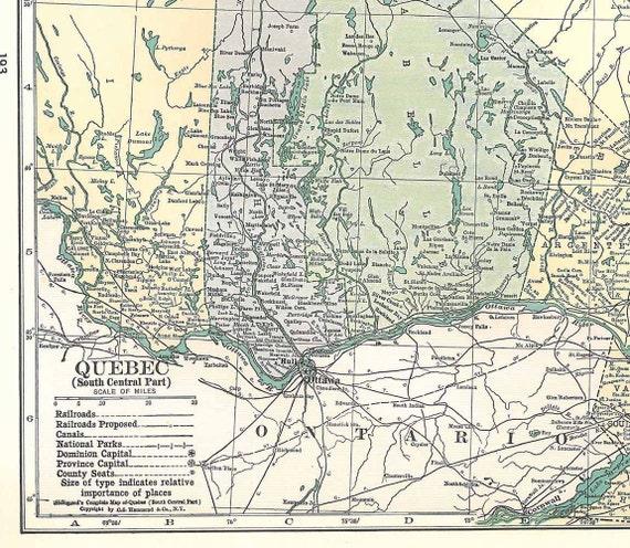 Vintage Map  Quebec, Canada,  1930s  Large Map to Frame