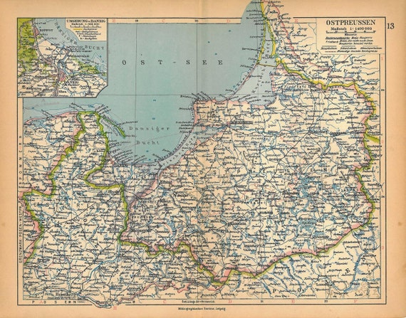 Vintage map east prussia 1928 vintage by carambasvintage on etsy